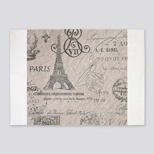 french scripts paris eiffel tower 5'x7'Area Rug