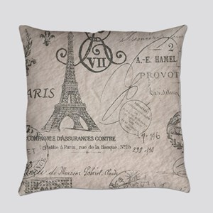 french scripts paris eiffel tower Everyday Pillow