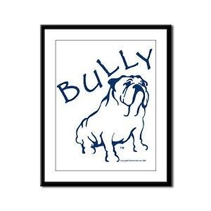 Bully Bulldog Blue Framed Panel Print