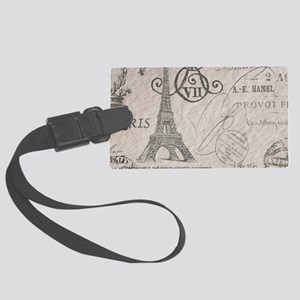 french scripts paris eiffel towe Large Luggage Tag