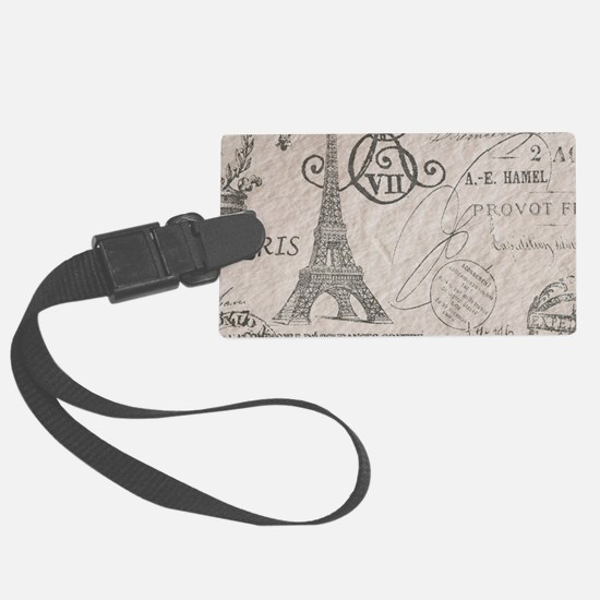 french scripts paris eiffel towe Luggage Tag