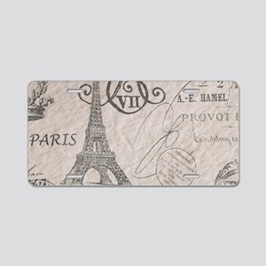 french scripts paris eiffel Aluminum License Plate