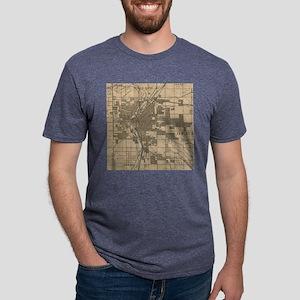 Vintage Map of Denver Color Mens Tri-blend T-Shirt