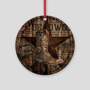 western cowboy Round Ornament
