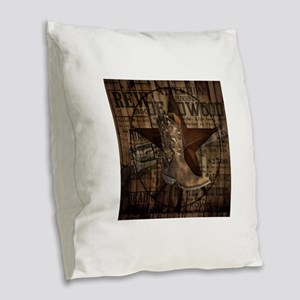 western cowboy Burlap Throw Pillow