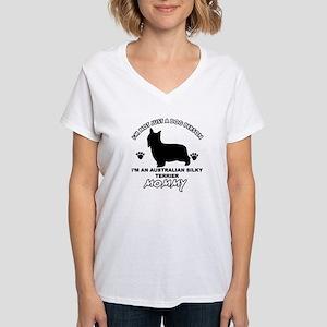Australian Silky Terrier Mommy designs Women's V-N