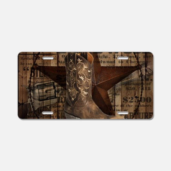 western cowboy Aluminum License Plate