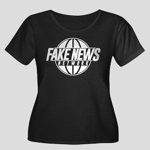 Fake New Women's Plus Size Scoop Neck Dark T-Shirt