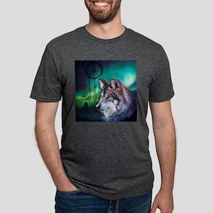 native dream catcher wolf n Mens Tri-blend T-Shirt