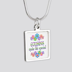 Cousins Make Life Special Silver Square Necklace