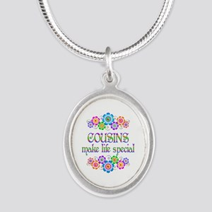 Cousins Make Life Special Silver Oval Necklace