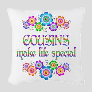 Cousins Make Life Special Woven Throw Pillow