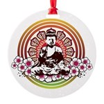 buddha with flowers Round Ornament