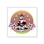 buddha with flowers Square Sticker 3