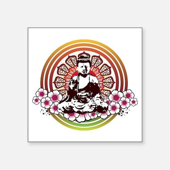 "buddha with flowers.jpg Square Sticker 3"" x 3"""