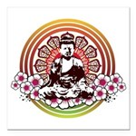 buddha with flowers Square Car Magnet 3