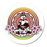 buddha with flowers Round Car Magnet