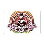 buddha with flowers Rectangle Car Magnet