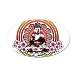 buddha with flowers Oval Car Magnet