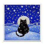 FAT Black CAT On Snowy Night ART Tile