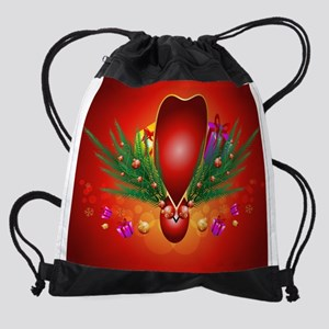 Christmas design with heart Drawstring Bag