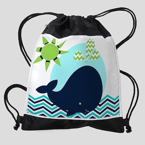 Navy Whale on Chevron Ocean Drawstring Bag