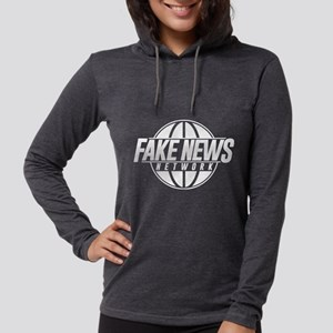 Fake News Network Distressed Womens Hooded Shirt