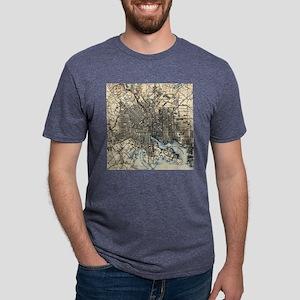 Vintage Map of Baltimore Ma Mens Tri-blend T-Shirt