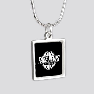 Fake News Network Silver Square Necklace