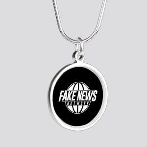 Fake News Network Silver Round Necklace