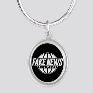 Fake News Network Silver Oval Necklace