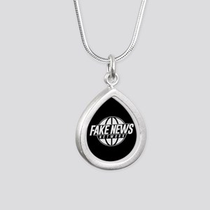 Fake News Network Silver Teardrop Necklace