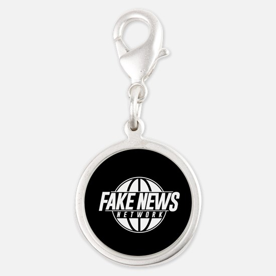 Fake News Network Silver Round Charm