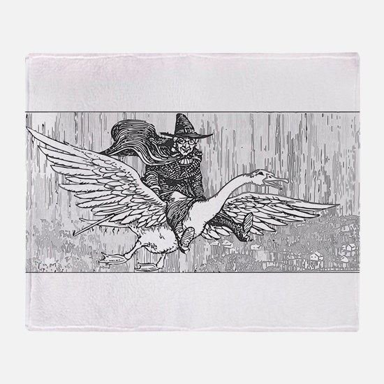 Mother Goose flying Throw Blanket