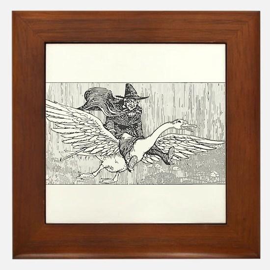 Mother Goose flying Framed Tile
