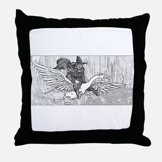 Mother Goose flying Throw Pillow