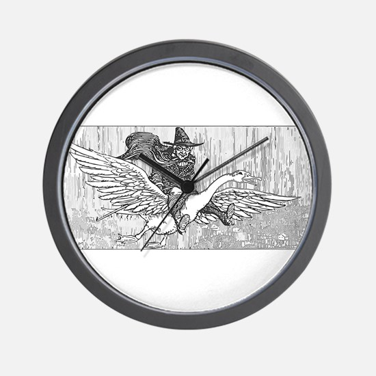 Mother Goose flying Wall Clock