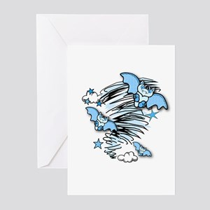 BATTY OVER BLUE Greeting Cards (Pk of 10)