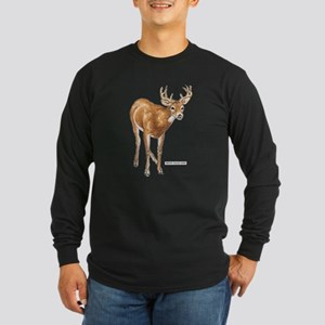 White Tailed Deer Long Sleeve Dark T-Shirt