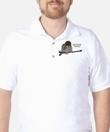 Grumpy Coffee Owl Golf Shirt