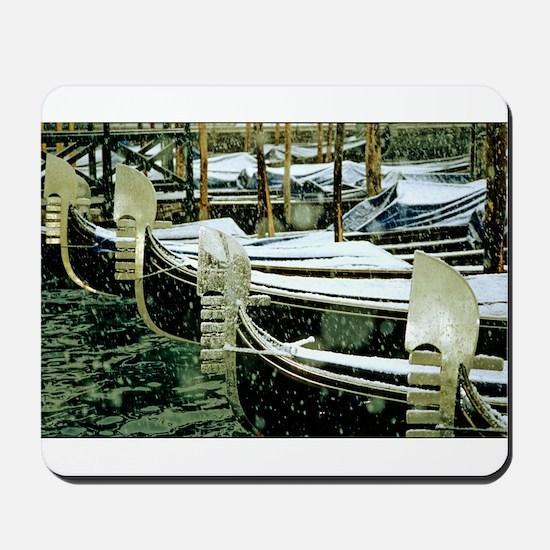 Gondolas in the Snow in Venic Mousepad