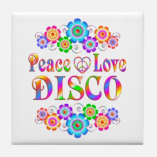 Peace Love Disco Tile Coaster