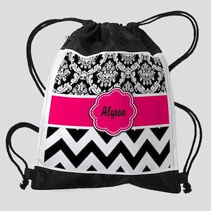 Pink Black Damask Chevron Drawstring Bag
