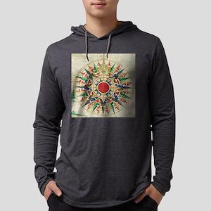 Vintage Compass Rose Diagram (15 Mens Hooded Shirt