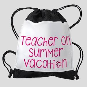 Warning Teacher on Summer Vacation Drawstring Bag