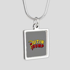 Putin Trump Color Silver Square Necklace