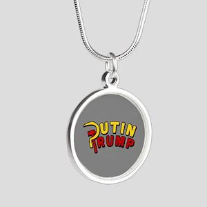 Putin Trump Color Silver Round Necklace
