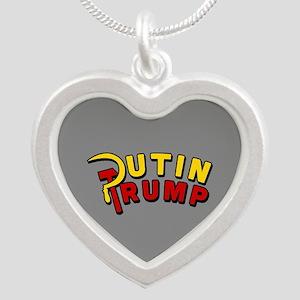 Putin Trump Color Silver Heart Necklace