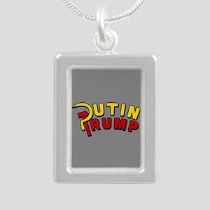 Putin Trump Color Silver Portrait Necklace