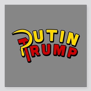 """Putin Trump Color Square Car Magnet 3"""" x 3"""""""